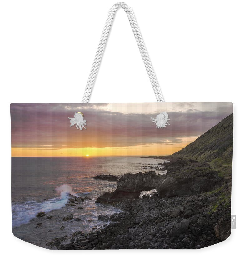 Kaena Point State Park Sea Arch Sunset Oahu Hawaii Hi Weekender Tote Bag featuring the photograph Kaena Point Sea Arch Sunset - Oahu Hawaii by Brian Harig