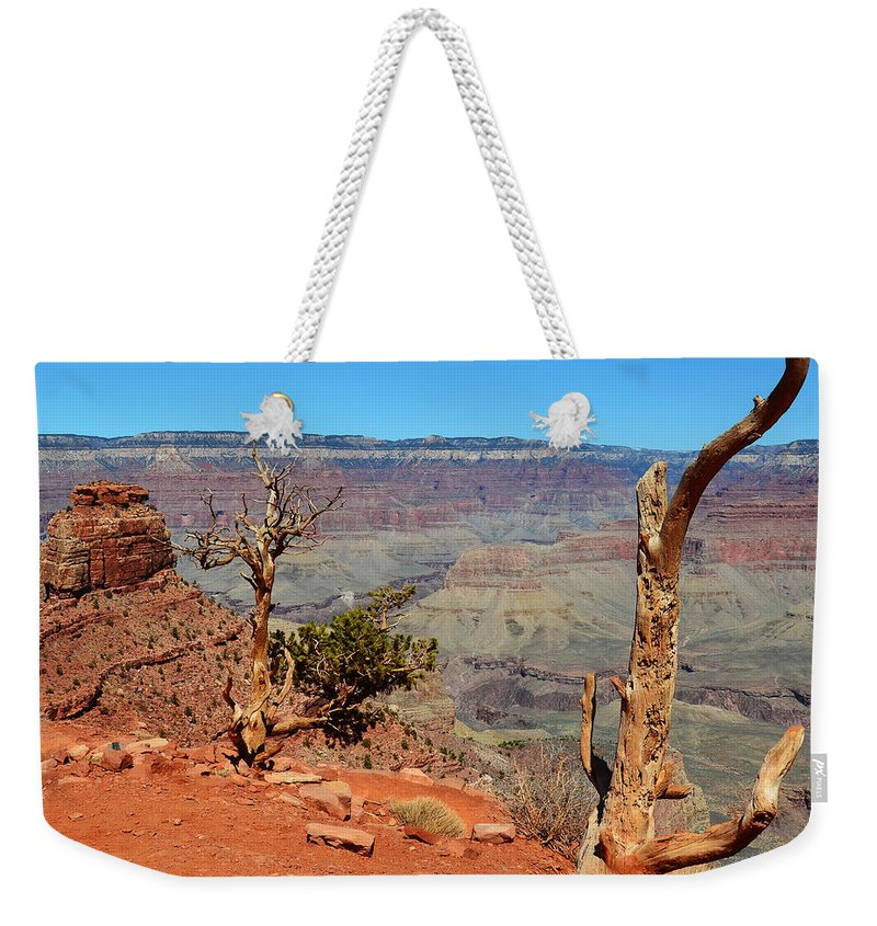 Grand Canyon Weekender Tote Bag featuring the photograph Kaibab Trail Trees And Cap Rock Formation Grand Canyon National Park Square by Shawn O'Brien