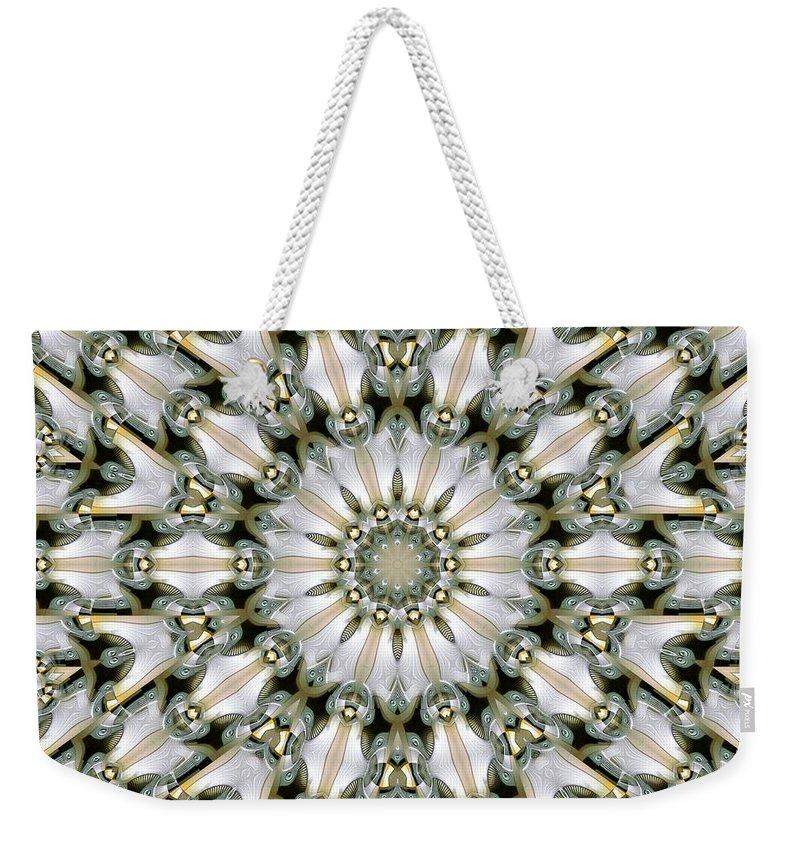 Kaleidoscope Weekender Tote Bag featuring the digital art Kaleidoscope 28 by Ron Bissett