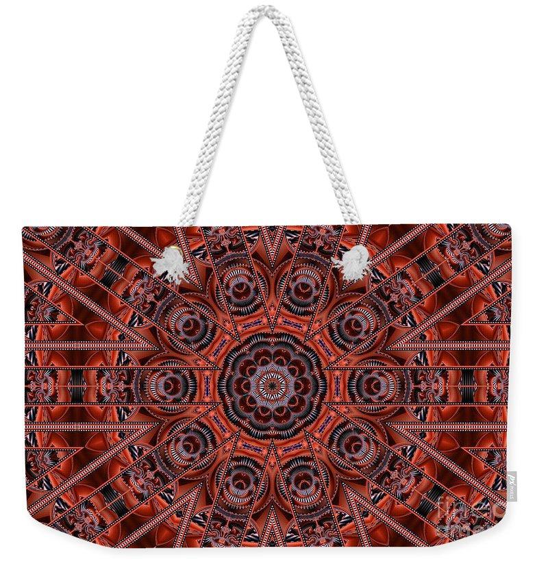 Kaleidoscope Weekender Tote Bag featuring the digital art Kaleidoscope 38 by Ron Bissett