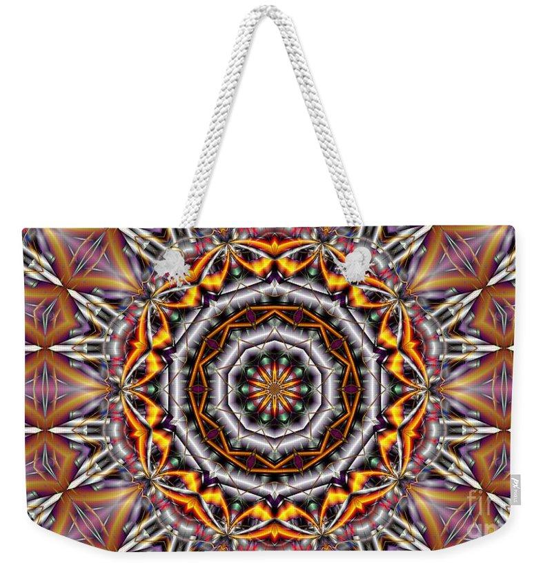 Kaleidoscope Weekender Tote Bag featuring the digital art Kaleidoscope 41 by Ron Bissett