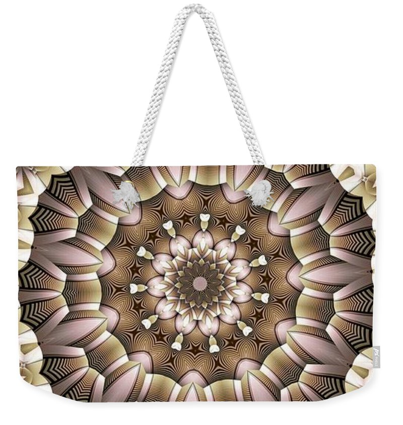 Kaleidoscope Weekender Tote Bag featuring the digital art Kaleidoscope 65 by Ron Bissett