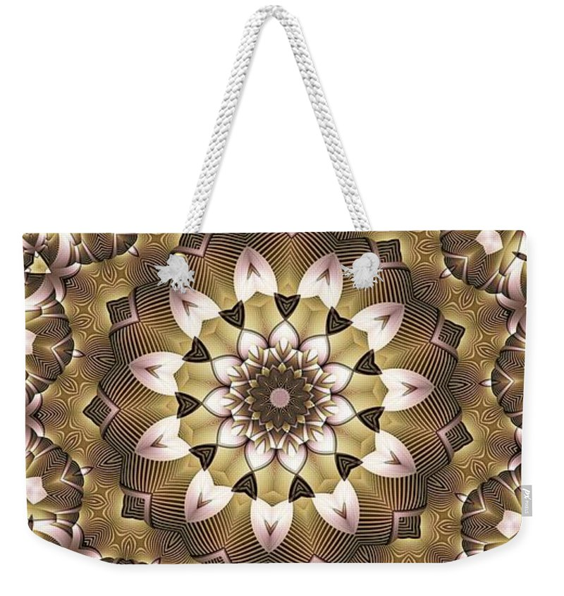 Kaleidoscope Weekender Tote Bag featuring the digital art Kaleidoscope 68 by Ron Bissett