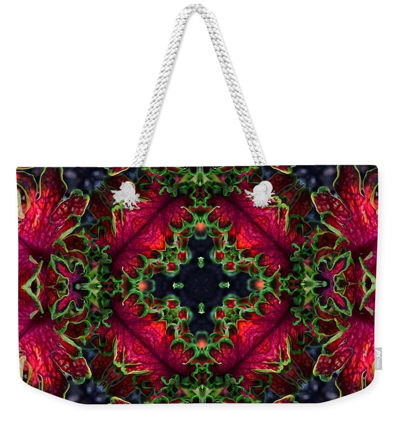 Kaleidoscope Weekender Tote Bag featuring the photograph Kaleidoscope Made From An Image Of A Coleus Plant by Amy Cicconi