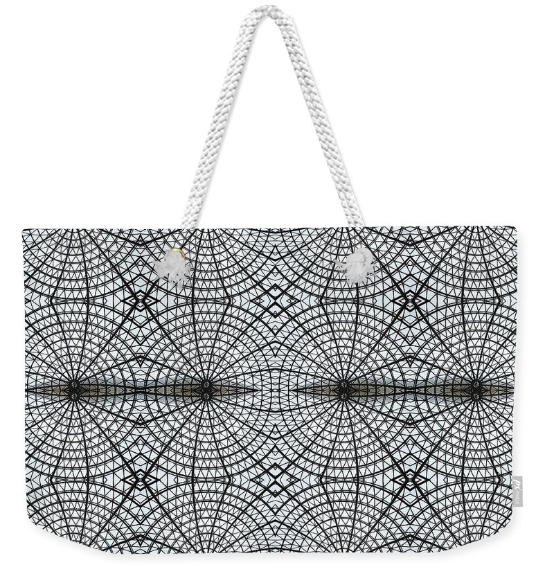 Internet Weekender Tote Bag featuring the photograph Kaleidoscope Of Metal And Glass Design by Elena Peremet