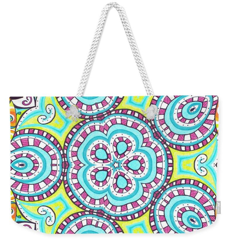 Kaleidoscope Weekender Tote Bag featuring the digital art Kaleidoscopic Whimsy by Shawna Rowe