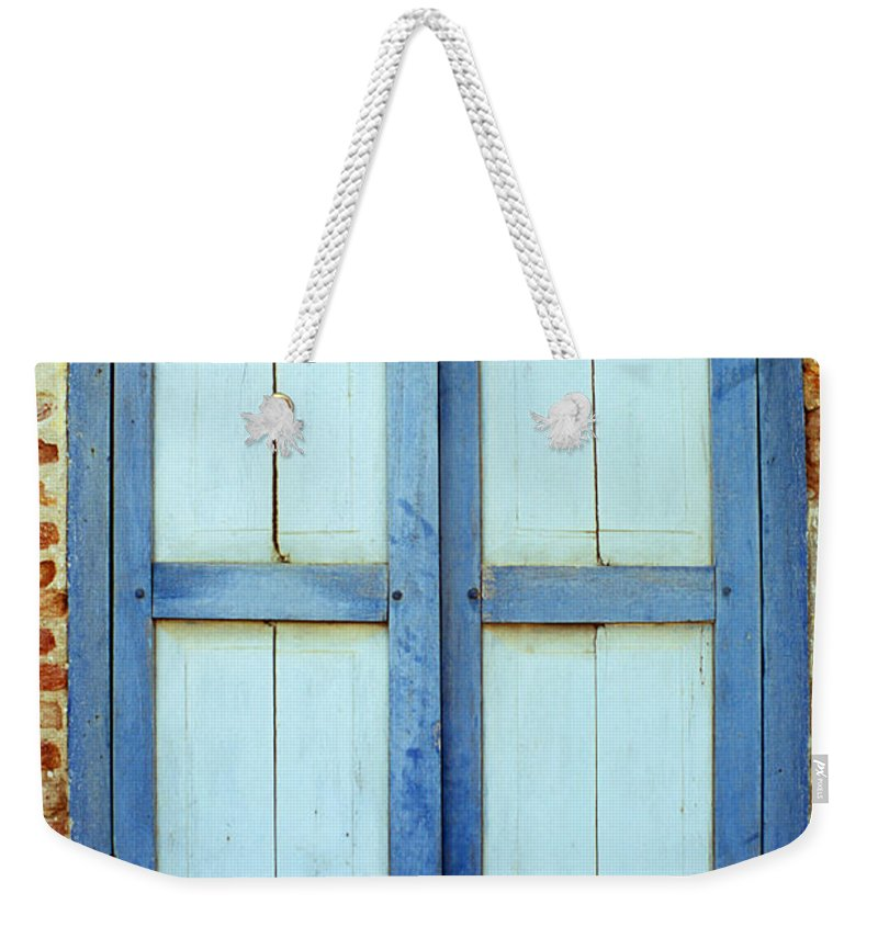 Cambodia Weekender Tote Bag featuring the photograph Kampot Blue Shutters by Rick Piper Photography