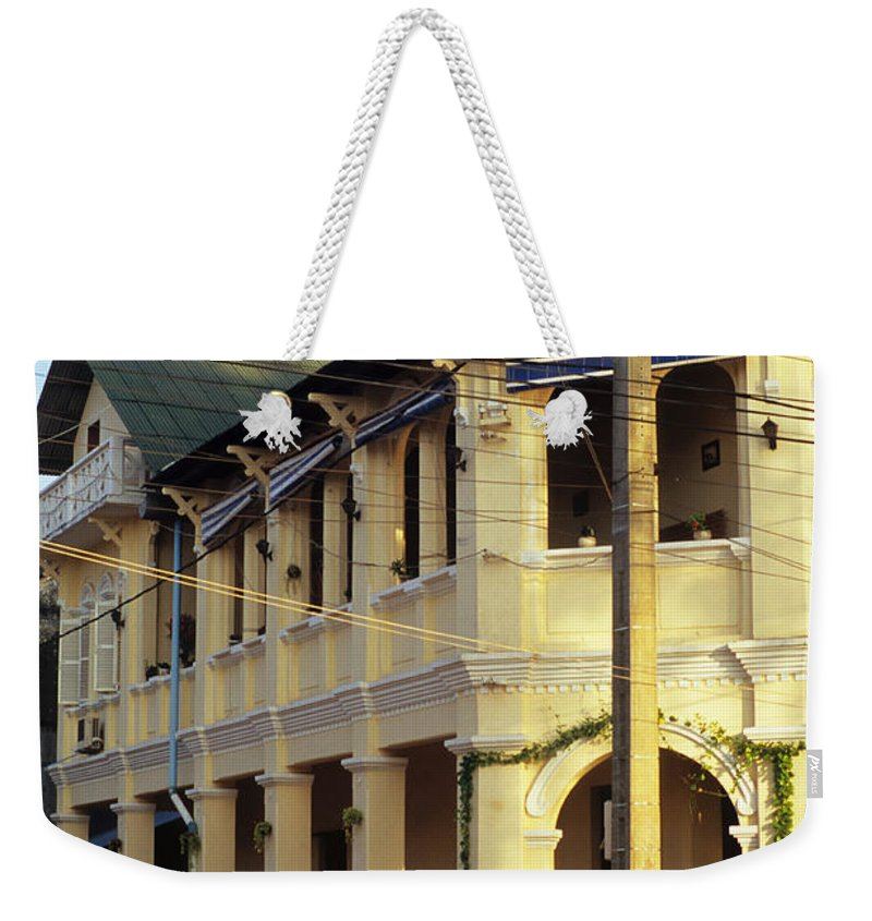 Cambodia Weekender Tote Bag featuring the photograph Kampot Old Colonial 07 by Rick Piper Photography