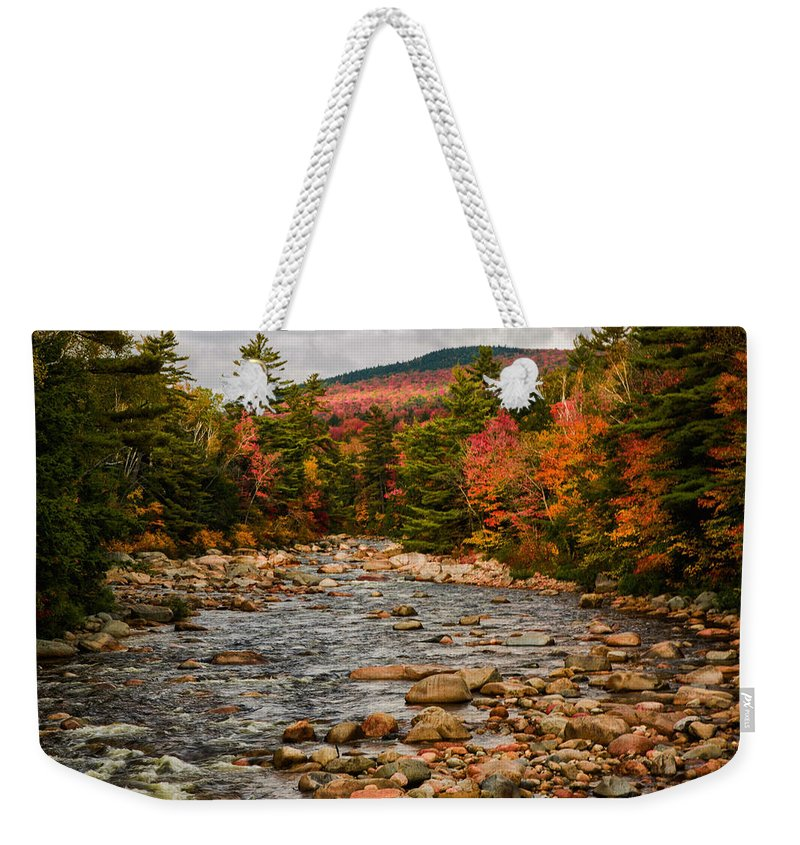 #jefffolger #vistaphotography Weekender Tote Bag featuring the photograph Kancamagus Prelude by Jeff Folger