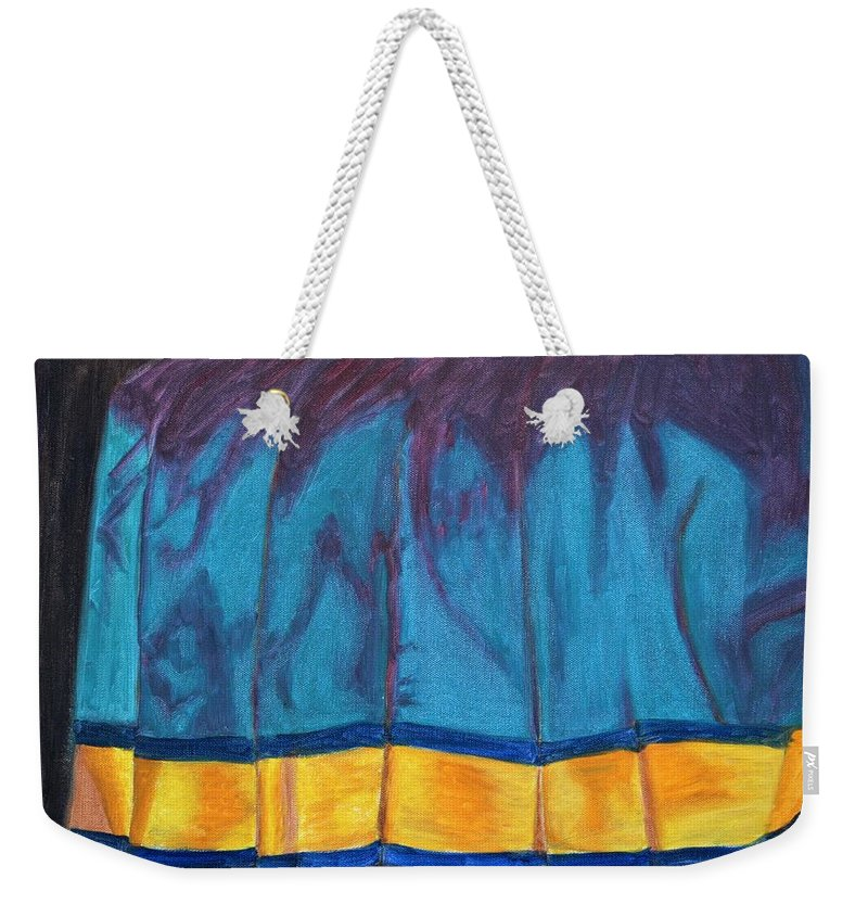 Kanchee Weekender Tote Bag featuring the painting Kanchi Saree by Usha Shantharam