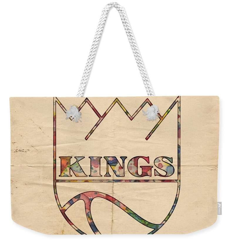 Kansas City Kings Weekender Tote Bag featuring the painting Kansas City Kings Retro Poster by Florian Rodarte