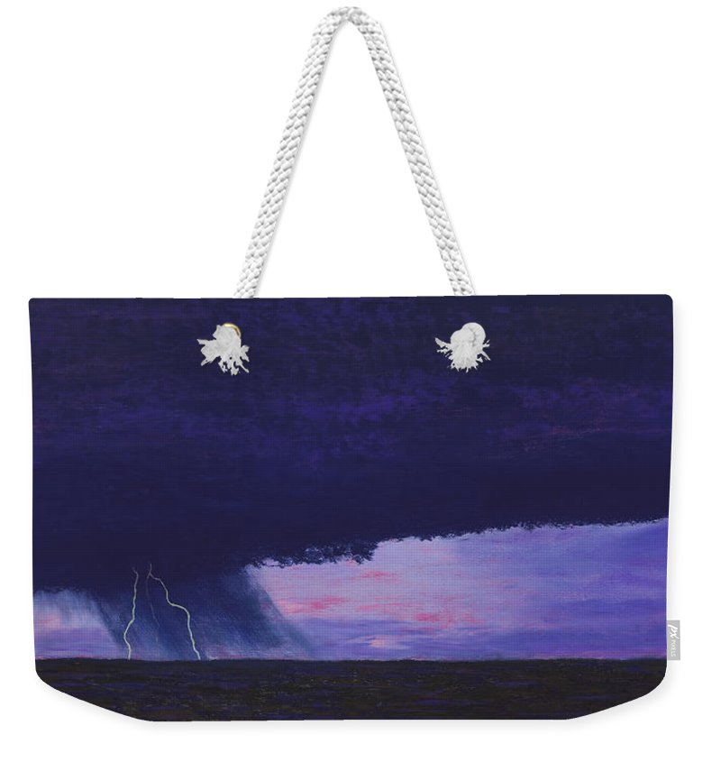 Lightning Weekender Tote Bag featuring the painting Kansas Lightning Storm by Garry McMichael