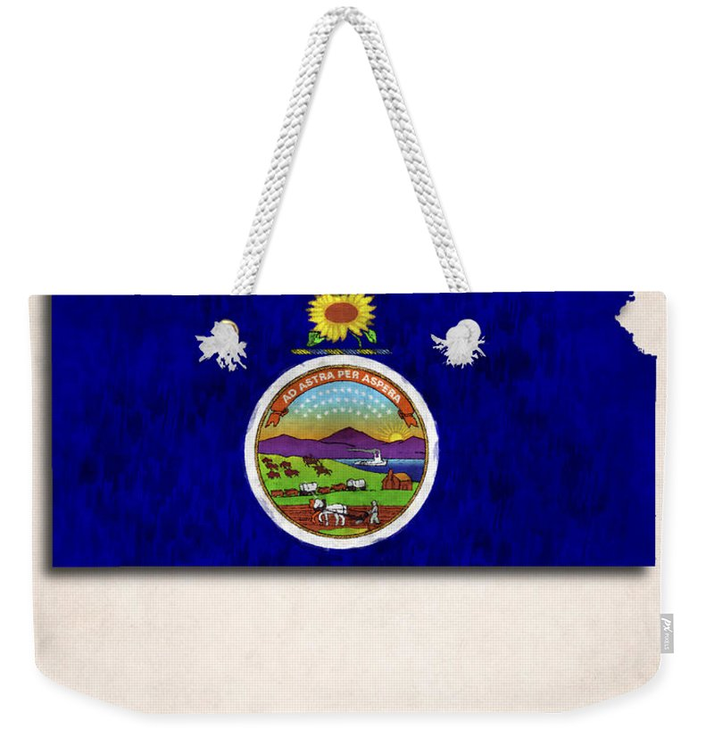 America Weekender Tote Bag featuring the digital art Kansas Map Art With Flag Design by World Art Prints And Designs