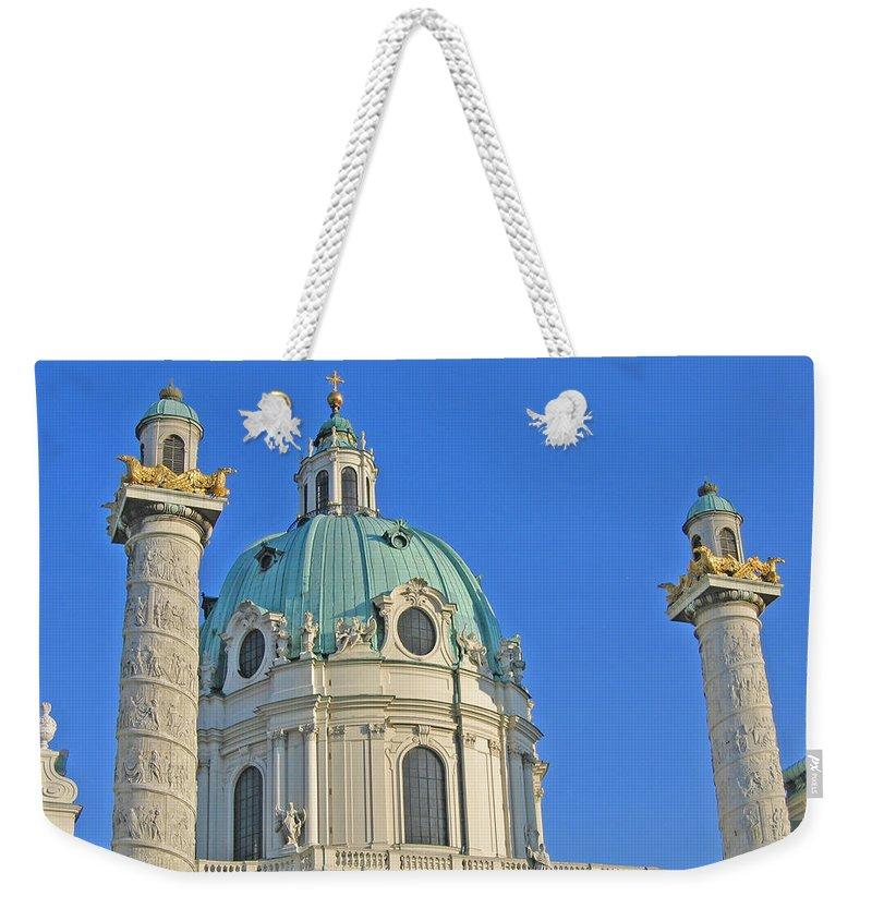 Vienna Weekender Tote Bag featuring the photograph Karlskirche - Vienna by Ann Horn