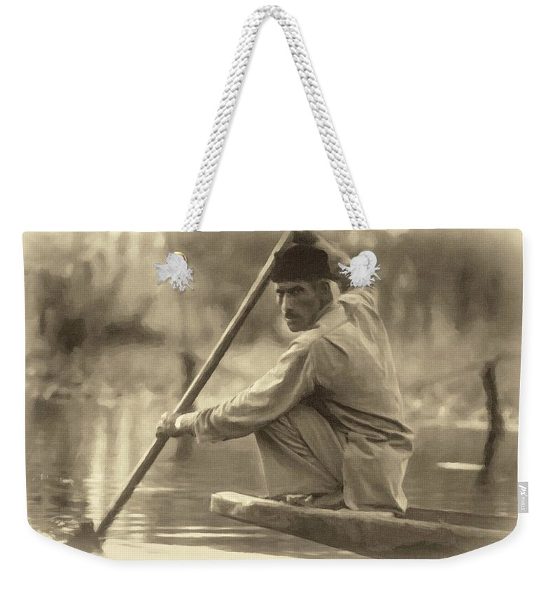 Dal Lake Weekender Tote Bag featuring the photograph Kashmir Dream Sepia by Steve Harrington