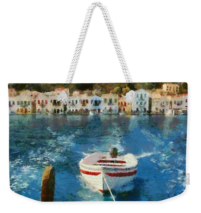 Kastellorizo Weekender Tote Bag featuring the painting Kastellorizo Island by George Atsametakis