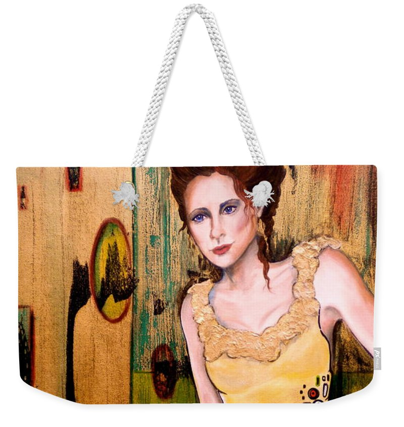 Woman Weekender Tote Bag featuring the painting Kate by Debi Starr