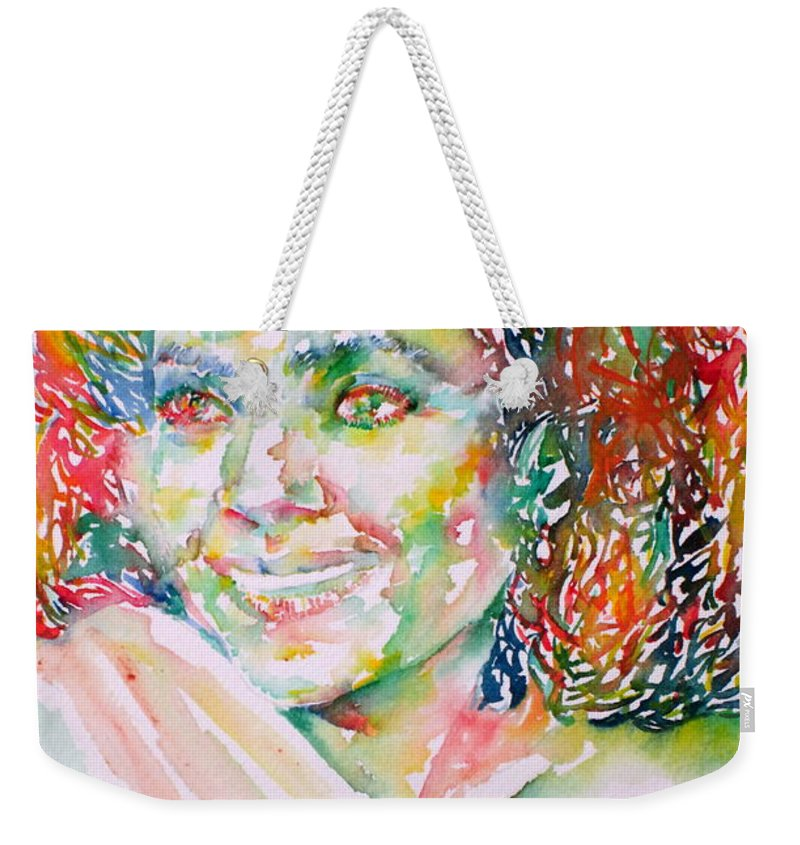 Kathleen Battle Weekender Tote Bag featuring the painting Kathleen Battle - Watercolor Portrait by Fabrizio Cassetta