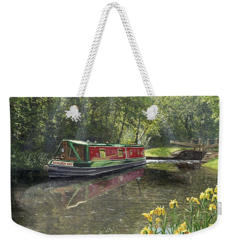 Landscape Weekender Tote Bag featuring the painting Kathleen May Chesterfield Canal Nottinghamshire by Richard Harpum