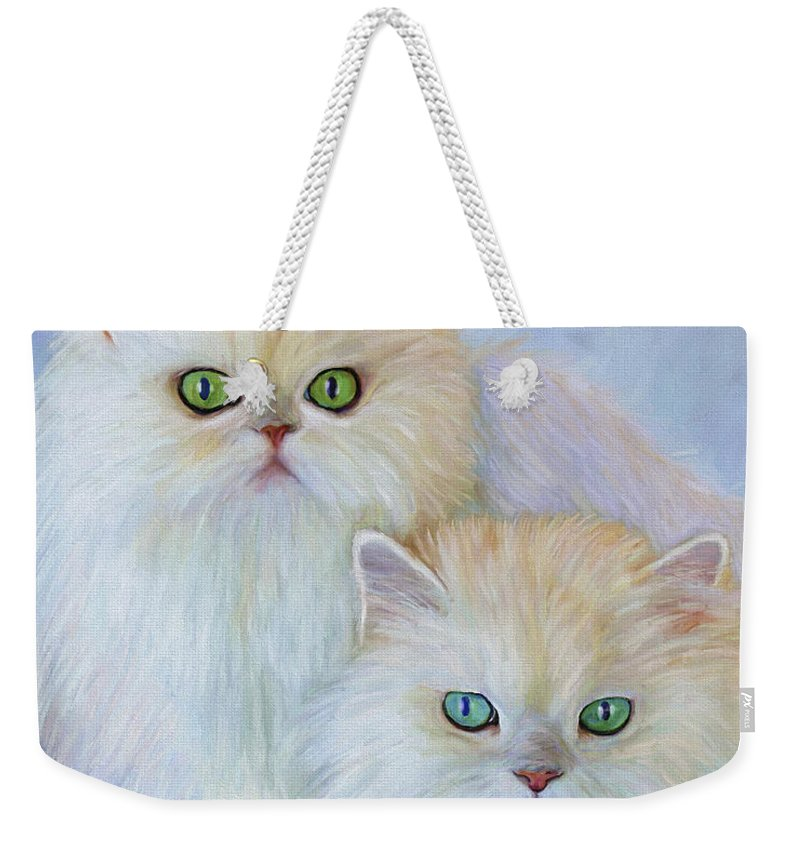Cat Weekender Tote Bag featuring the painting Katrina And Bjorn by David Wagner
