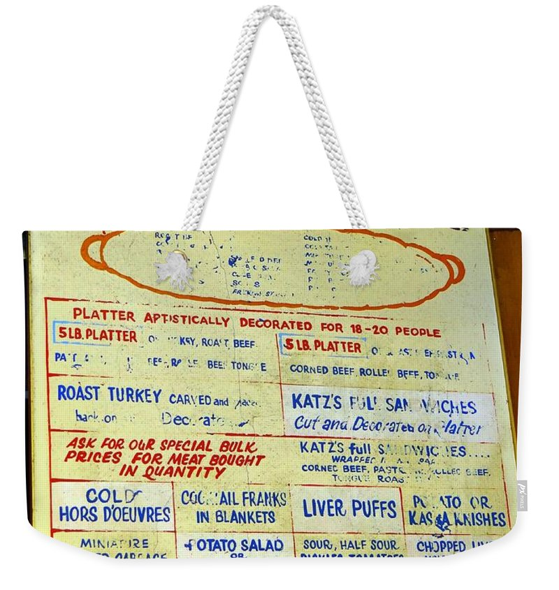Katzs Deli Weekender Tote Bag featuring the photograph Katz's Catering by Ed Weidman
