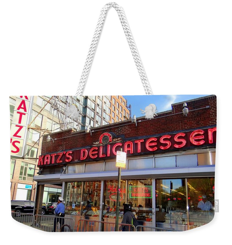Katzs Deli Weekender Tote Bag featuring the photograph Katz's Delicatessan by Ed Weidman