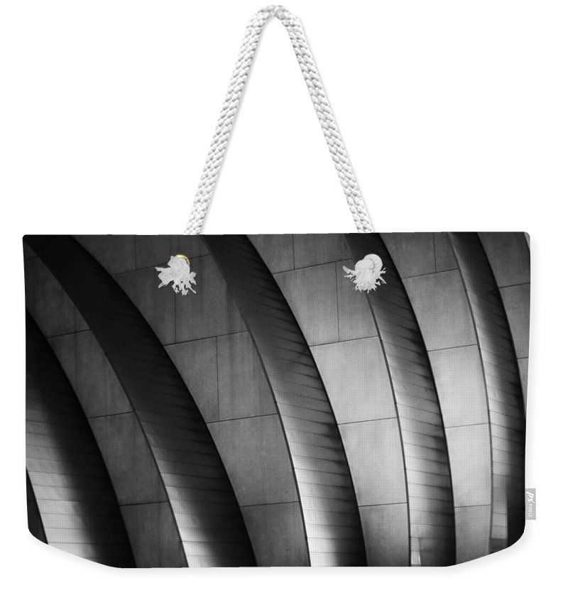 Kauffman Performing Arts Center Weekender Tote Bag featuring the photograph Kauffman Performing Arts Center Black And White by Stephanie Hollingsworth