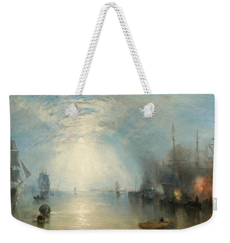 Shipping; Industry; Coal; Fire; Night; Moon; Sailing; Sail; Boat; Burning; Coal; Kealboat; Keels; Cargo Weekender Tote Bag featuring the painting Keelmen Heaving In Coals By Moonlight by Joseph Mallord William Turner