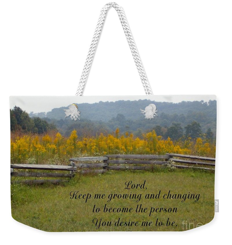 Fence Weekender Tote Bag featuring the photograph Keep Me Growing by Sara Raber
