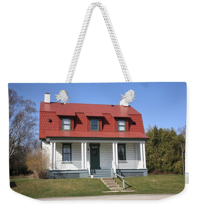 America Weekender Tote Bag featuring the photograph Keeper's House - Presque Isle Light Michigan by Frank Romeo