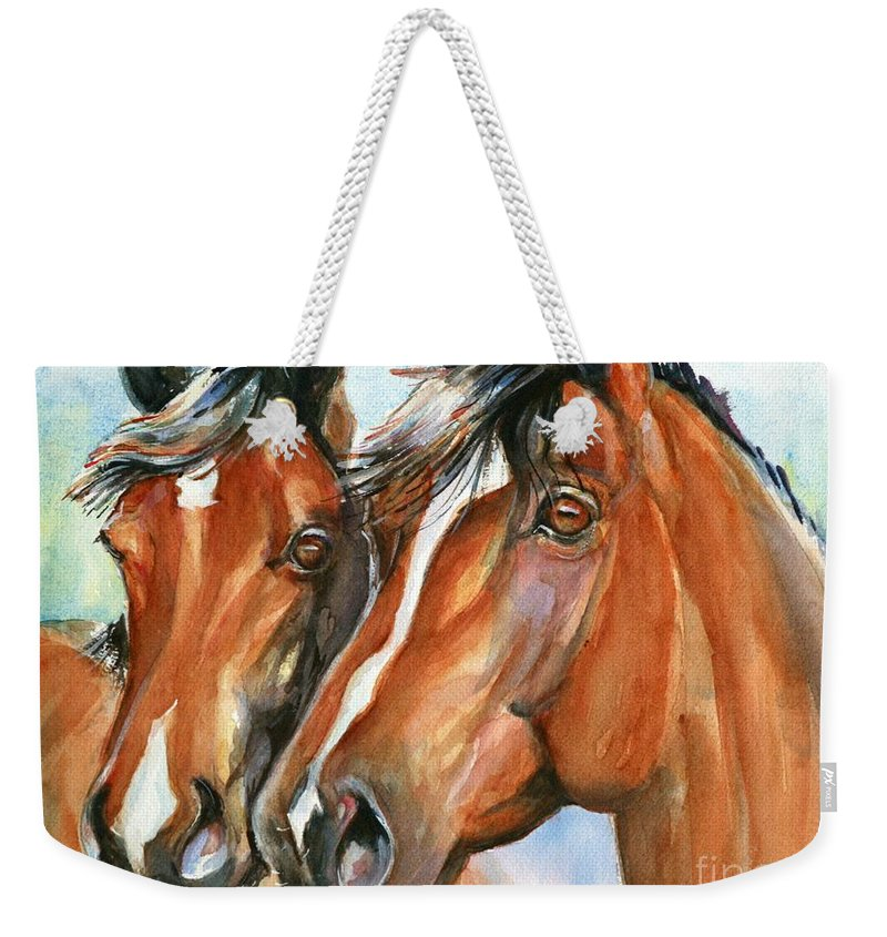 Horse Art Weekender Tote Bag featuring the painting Horse Painting Keeping Watch by Maria's Watercolor