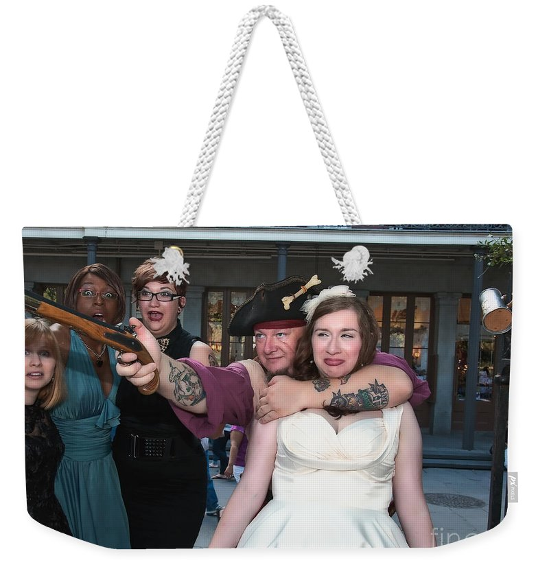 Bride Weekender Tote Bag featuring the photograph Keira's Destination Wedding - The Pirate Part by Kathleen K Parker