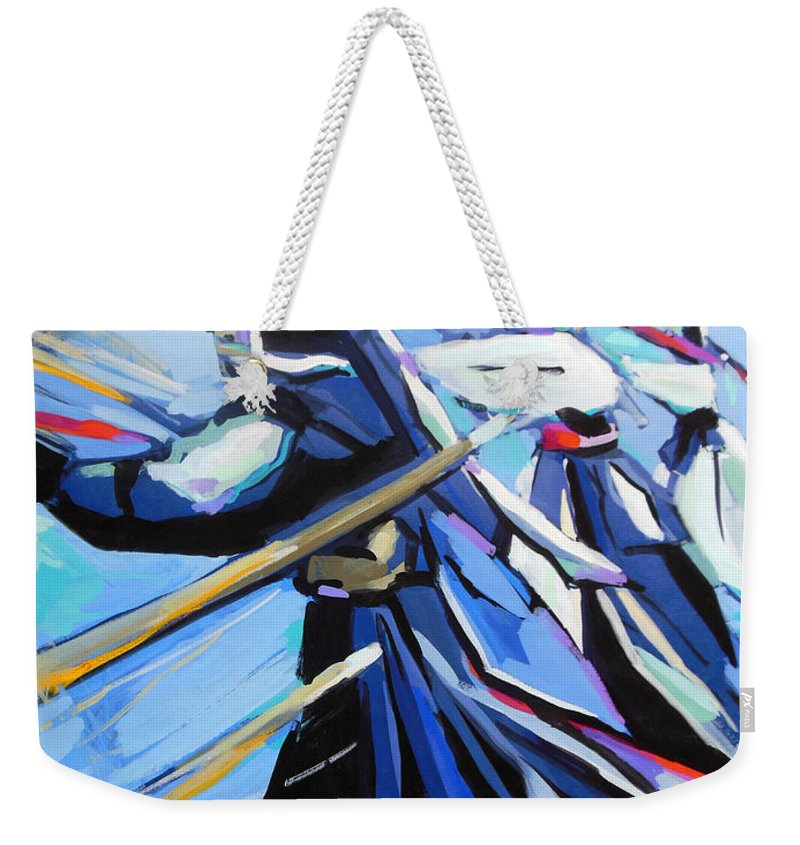 Kendo Weekender Tote Bag featuring the painting Kendo by Lucia Hoogervorst