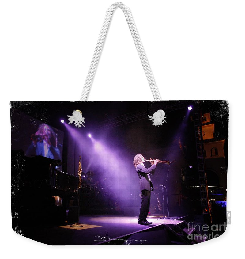 Music Weekender Tote Bag featuring the photograph Kenny G Live by Nina Prommer