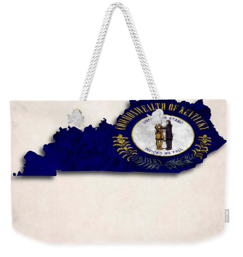 America Weekender Tote Bag featuring the digital art Kentucky Map Art With Flag Design by World Art Prints And Designs