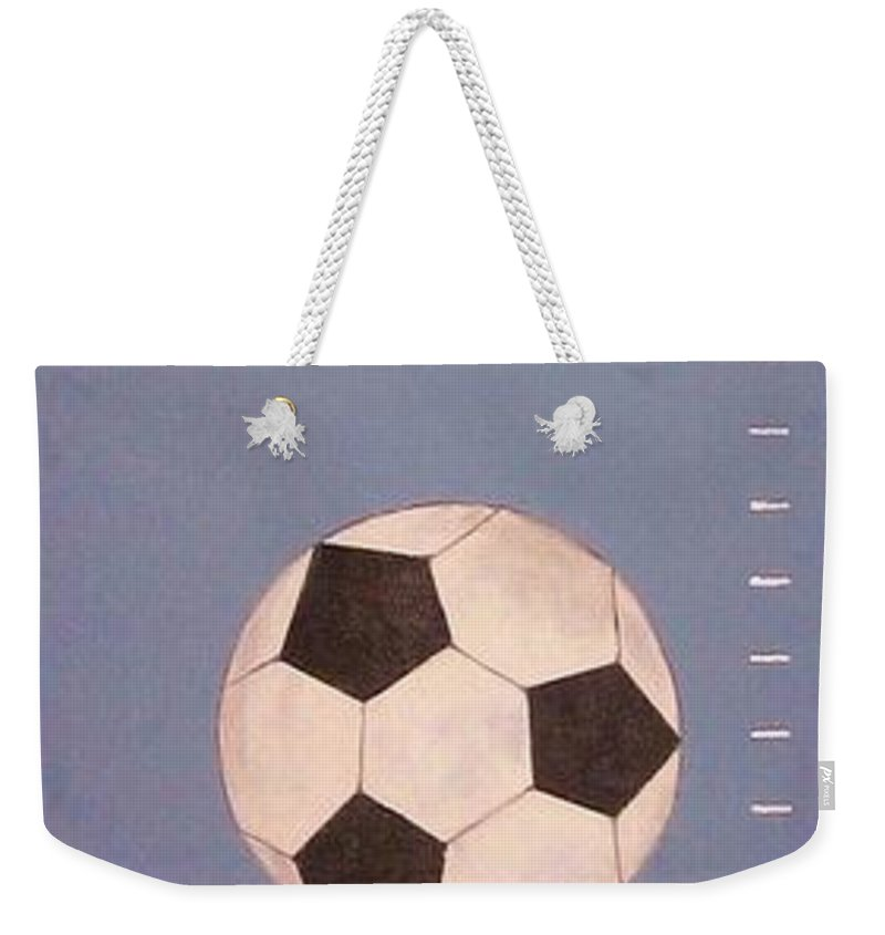 Kids Paintings Weekender Tote Bag featuring the painting Kids And Soccer by Graciela Castro