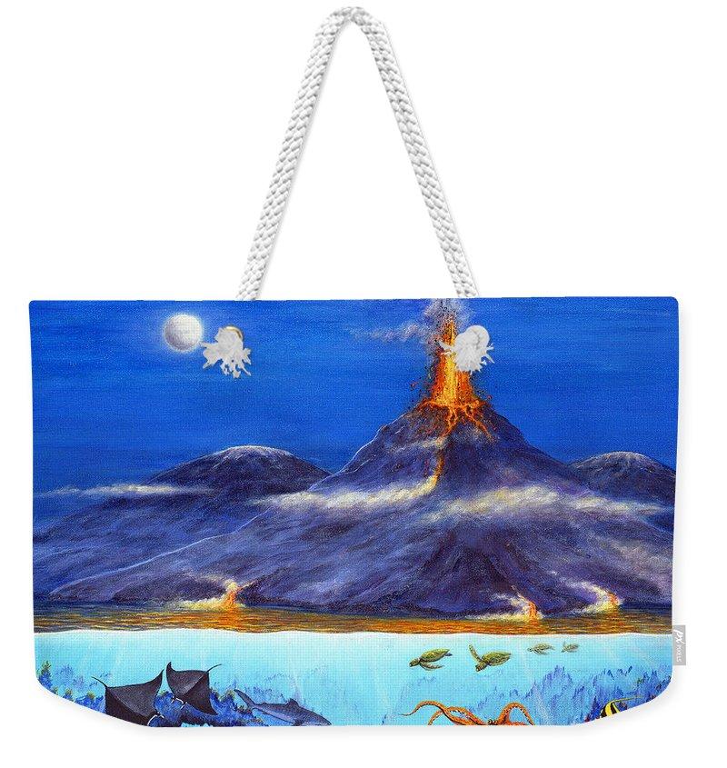 Kilauea Weekender Tote Bag featuring the painting Kilauea Volcano Hawaii by Jerome Stumphauzer