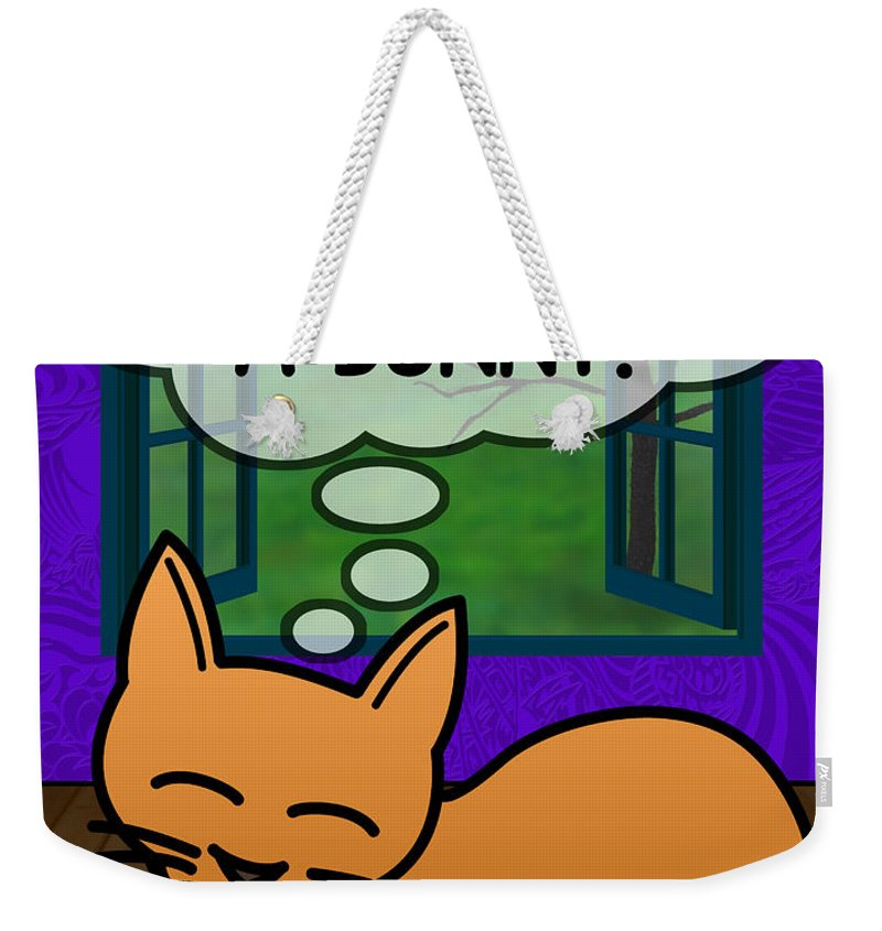 Humor Weekender Tote Bag featuring the painting Cat Thoughts by Sean Corcoran