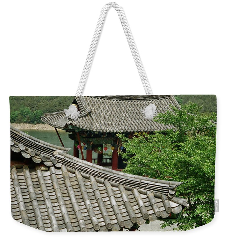 Tranquility Weekender Tote Bag featuring the photograph Kimchi Pots, Tiles And Lanterns by Mimyofoto - Serge Lebrun