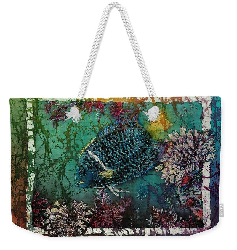 King Angelfish Weekender Tote Bag featuring the painting King Angelfish by Sue Duda
