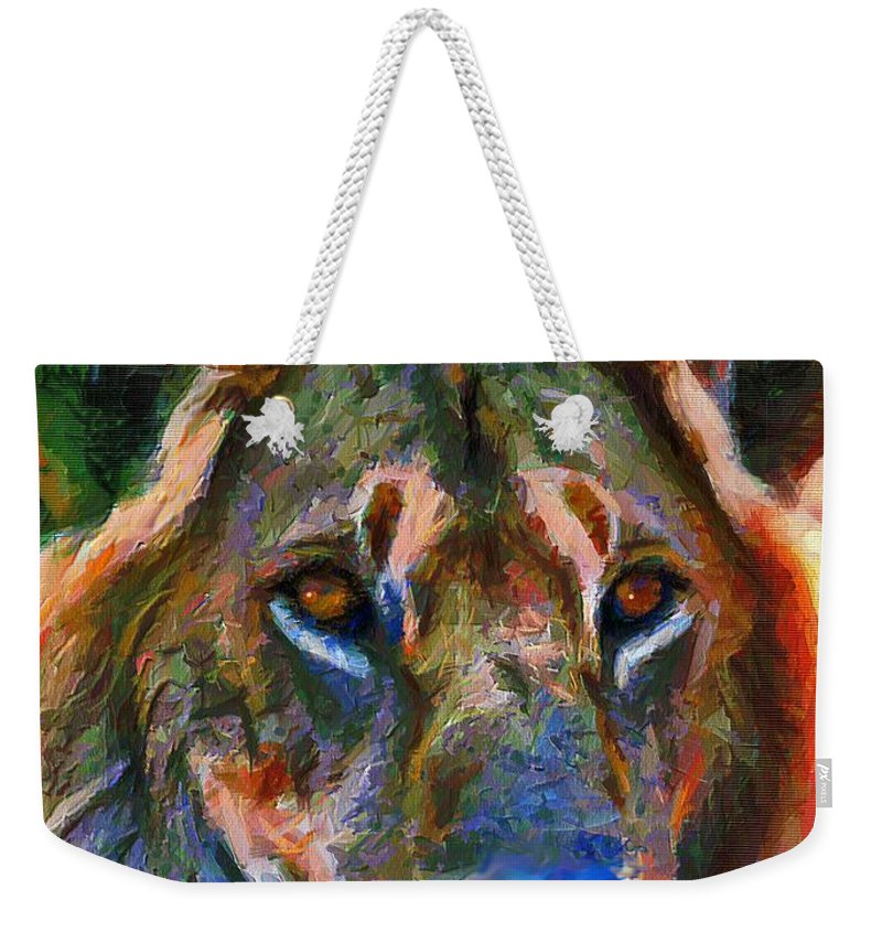 Lion Weekender Tote Bag featuring the mixed media King Of The Wilderness by Georgiana Romanovna