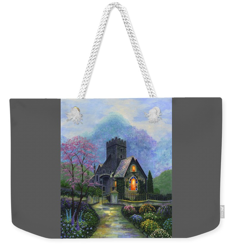 Church Weekender Tote Bag featuring the painting King's Garden by Bonnie Cook