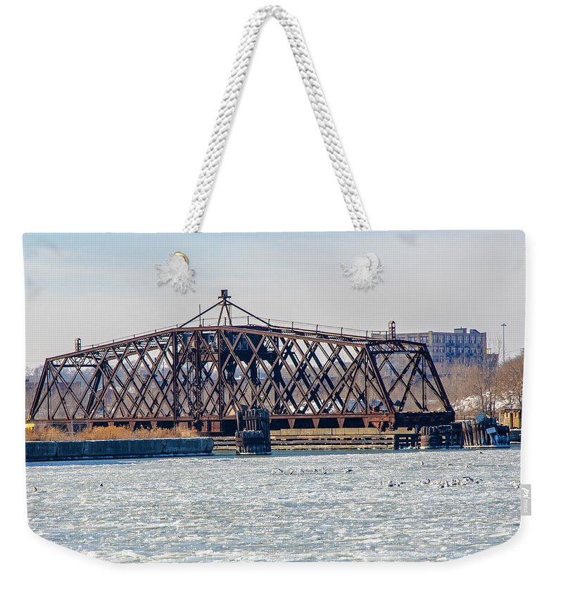 Bridge Weekender Tote Bag featuring the photograph Kinnickinnic River Swing Bridge by Susan McMenamin