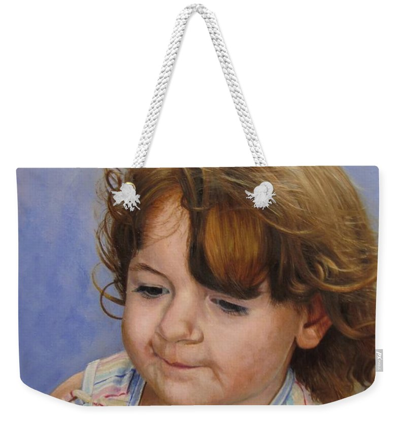Child Portrait Weekender Tote Bag featuring the painting Kira 2 by Glenn Beasley