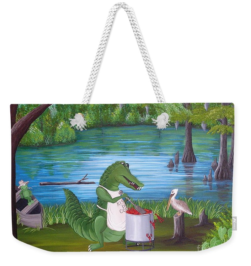 Alligator Weekender Tote Bag featuring the painting Kiss Da Cook by Valerie Carpenter