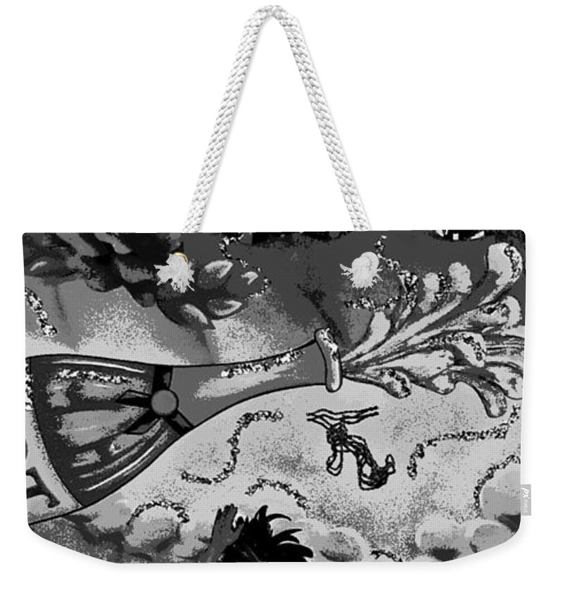Digital Art Weekender Tote Bag featuring the photograph Kiss Me Hot Stuf In Black And White by Marian Bell