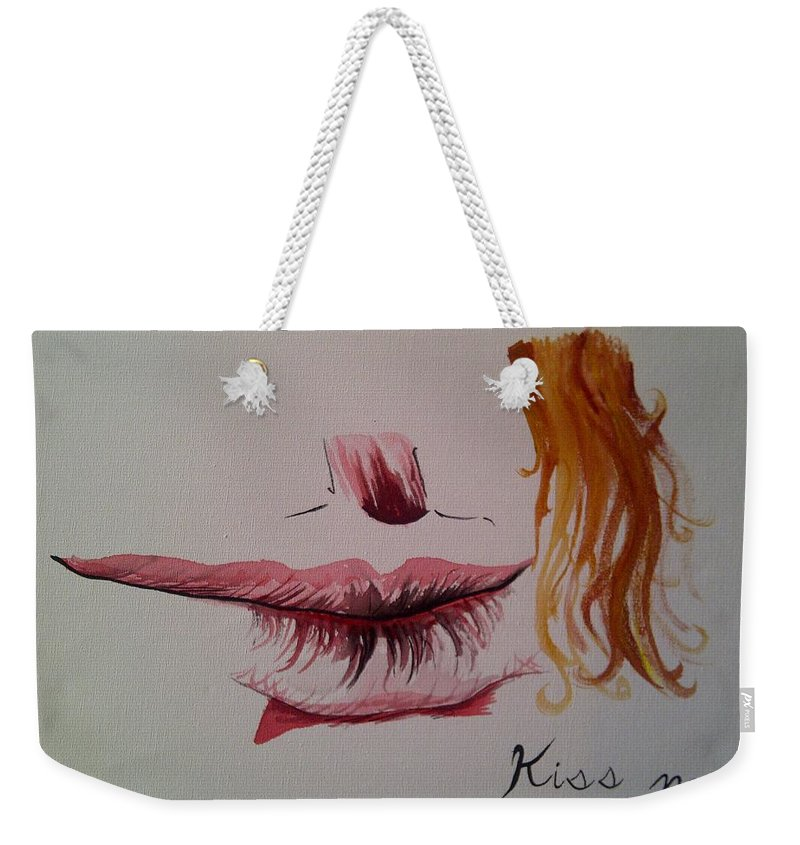 Kiss Kissing Love Romance Lips Red Hair Weekender Tote Bag featuring the painting Kiss Me by Kevin Braybon