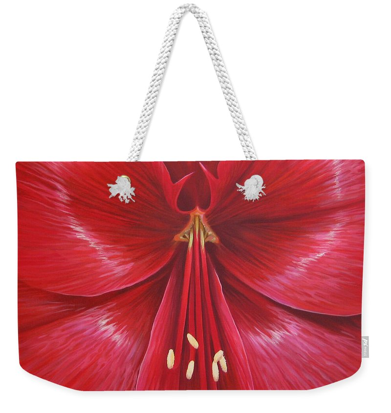Botanical; Flower Weekender Tote Bag featuring the painting Kiss Of Life by Hunter Jay