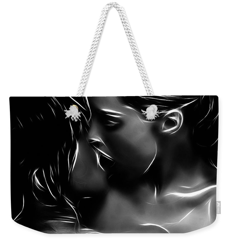 Girl Woman Female Kiss Kissing Lesbian Sexy Beauty Nude Naked Erotic Black White Expressionism Abstract Sensual Weekender Tote Bag featuring the painting Kissing A Girl by Steve K