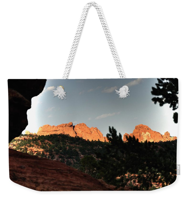 Landscape Weekender Tote Bag featuring the photograph Kissing Camels 11344 by Jerry Sodorff